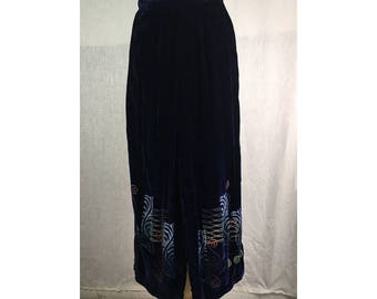 Party Pants - Royal Blue silk Velvet w/ Art Nouveau small   Ready to Ship by Blue Fish Red Moon Clothing
