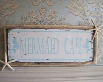 """Beach Decor Sign - """"Mermaid Cafe"""" Sign - Coastal Home Decor - Wooden Sign - Beach Sign - Starfish - Mermaid Cafe"""