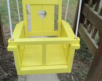 Childs (Toddler's) Solid Oak Wood Heart Swing (sun yellow)