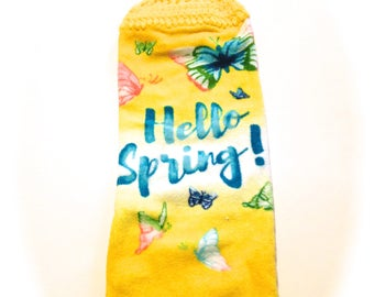 Hello Spring Hand Towel With Yellow Crocheted Top