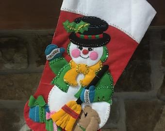 Decorative Christmas Stocking: Snowman with decorative scarf