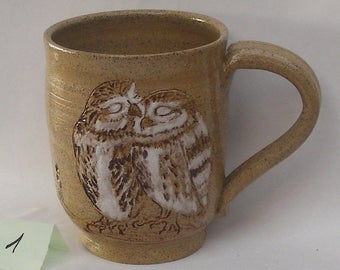 Stoneware Kissing Owls Mug, Hand Painted Owl Mug No. 1