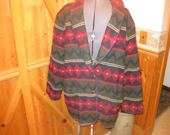 vtg lg wool blend aztec portraits Northern Isle jacket two button shawl collar nice colors free ship