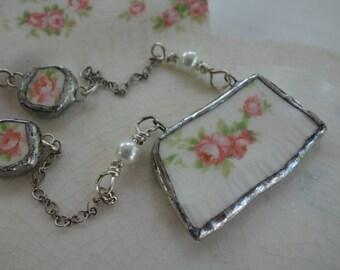 Broken china jewelry- broken china necklace- pink roses vintage china necklace- statement necklace- recycled broken china necklace
