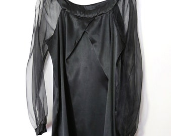 Vintage 1990s Black Satin Shift Dress with Sheer Mesh Blouson Long Sleeves, Pleat Tuck Detailing and Wide Thick Neckband