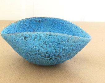 Vintage Beatrice Wood  Blue Volcanic Glaze Pinch Bowl Mid Century Studio Pottery Beato