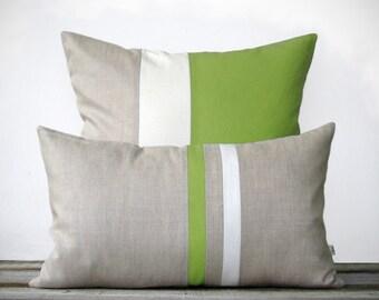 Lime Pillow Set - (12x20) Stripe and (20x20) Color Block  by JillianReneDecor - Summer Home Decor - Beach House - Coastal - Lime Green