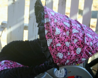 hello kitty and black minky infant car seat cover and hood cover