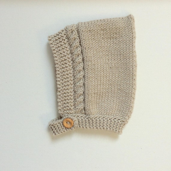 Cable Knit Pixie Hat in Almond Merino Wool - Made to Order