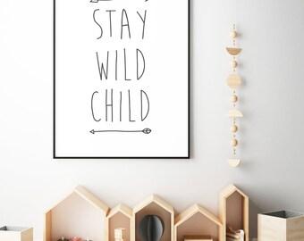 wild one birthday, wild one decor, stay wild child, digital download, printable decor, nursery decor, one birthday, birthday gift