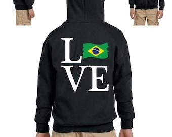 Love Brazil  Youth Full-Zip Hooded Sweatshirt