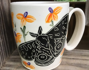 Moth mug, coffee mug, handmade pottery mug, tea cup