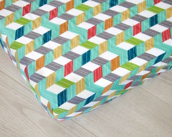Organic Changing Pad Cover | Multicolor Chevrons