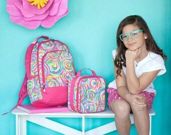 Summer Sorbet Backpack and Lunch box Set, MONOGRAM INCLUDED, Personalized Backpack, Monogram Backpack, Girl Backpack, Back to School
