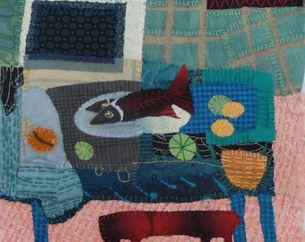 """Quilt art.  Fabric collage.Fiber art wall hanging    Still life with Fish  8""""x10"""""""