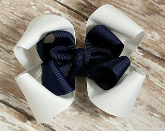 White and Navy Boutique Hair Bow - Dark Blue Winter Hair Bows - Available in more colors by request: Red Green Pink Black Purple Orange- OTT
