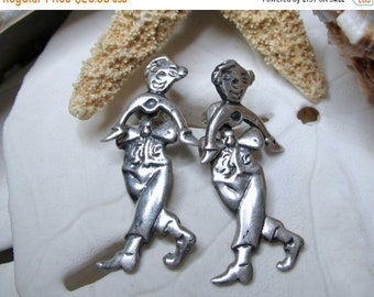 ON SALE Sterling Silver Unique Movable Clown Dangle Earrings 5.12g