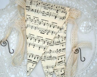 Paper Banner from Vintage Music Book Pages