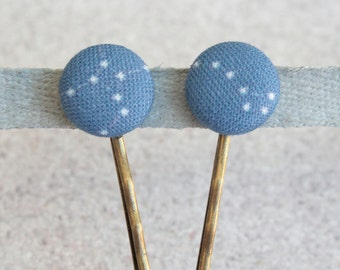 Constellation- Fabric Covered Button Bobby Pin Pair