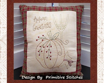 Autumn Greetings-Primitive Stitchery  E-PATTERN by Primitive Stitches-Instant Download