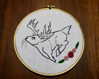 Jackalope Embroidery Wall Hanging