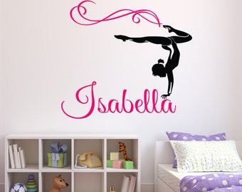 Awesome Gymnast Name Wall Decal   Personalized Name Wall Decal   Gymnastics Wall  Decal   Dance Decal   Children Kids Teen Girl Bedroom Decor