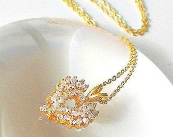 Vintage Heart Pendant Necklace, Rhinestone Heart Pendant, Gold Heart Pendant, Clear Crystal Rhinestones.