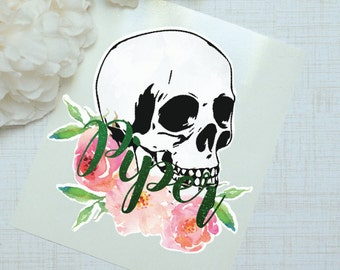 Watercolor Skull Monogram Decal, Glossy and Glitter Monogram Sticker, Tumbler Decal, Printed Decal, Floral Skull
