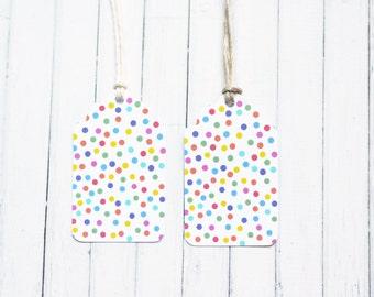 Polka Dot Gift Tag, Rainbow Spots, Rainbow Gift Tag, Birthday Party, Birthday Gift Tag, Party Bag Tag, Rainbow Party, Baby Shower Tag