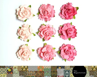Pink Paper Flower Fridge Magnet Set