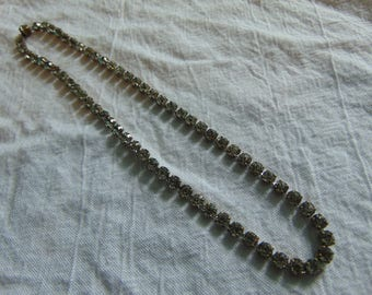 vintage pastes crystal choker necklace brass sparkling clear open backs