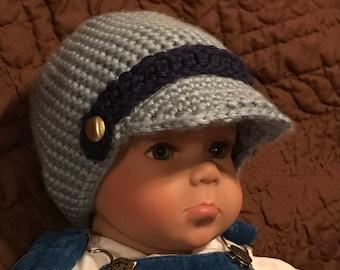 Blue Baby Boy Brim Crochet Hat