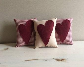 Handmade Set of 3 Heart Valentine Mini Pillow Bowl Filler