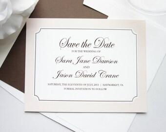 Wedding Save the Date Card - Beige, Tan, Brown, Formal Save the Dates, Classic Save the Date Cards - DEPOSIT