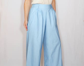 Light blue denim Pants High waist Wide leg pants with pockets