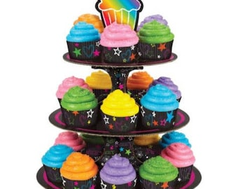 Fun Colorful Neon Doodle Peace Sign Cupcake Display Stand Set Holds 24 Cupcakes - 60's , 70's or 80's Party! Only 2 Available