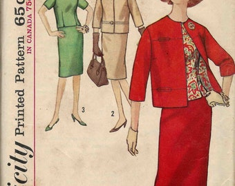 Sewing pattern Simplicity 5144 Jacket without collar 3/4 sleeves overblouse with short sleeves skirt has kick pleat Size 14 Bust 34 c1960s