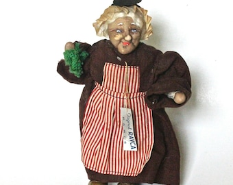 Vintage Bernard Ravca of Paris Peasant Woman Stockinette Doll, 1938/Folk Doll/Collectible Doll