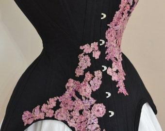 Edwardian Corset Embellished with Lace, Engraved Busk