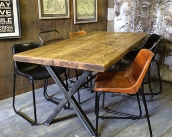 Vintage Industrial Rustic Reclaimed Plank Top Dining Table X-Frame Steel Base (Handmade UK)