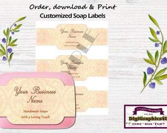 Printable Decorative Hand Soap Labels, Soap Wrappers Customized for your Business