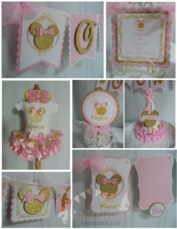 Minnie Mouse pink and gold 1st birthday decorations