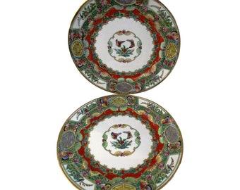 Botanical Porcelain Display Plates, Pair