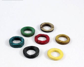Set of 10 rings connector coco color mixed 20 mm in diameter