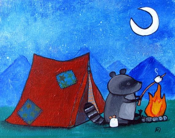 Camping Nursery Art Childrens Room Kids Wall Art Campfire Tent