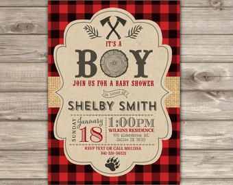 LumberJack Baby Shower Invitations NV2337