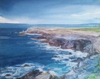 Quiberon series breton landscape on paper 300gr painting 21 x 23
