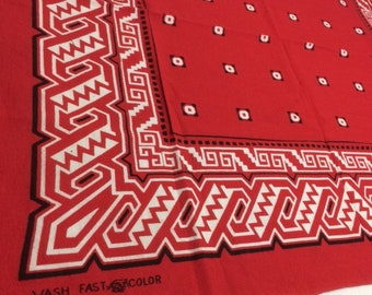 1950s Tiger Wash Fast Color Abstract Navajo Native American Indian Print large red hemmed Bandana 22.5x19.25 cotton selvedge bandanna #108