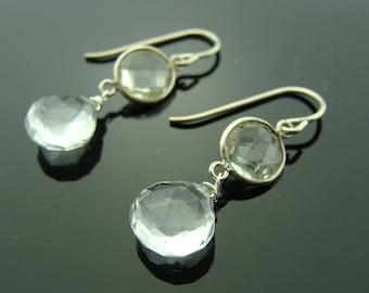 Green Amethyst and Quartz 925 Sterling Silver Dangle Earrings
