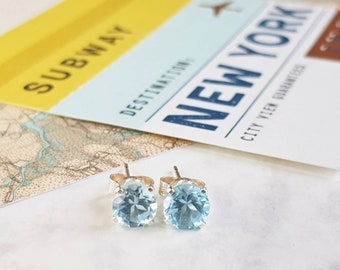 Sky Blue Topaz and Sterling Silver Stud Earrings